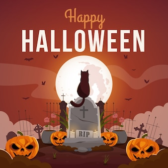 Glückliche halloween-grußkarte mit unheimlichen kürbissen und katze, die auf grabstein sitzen