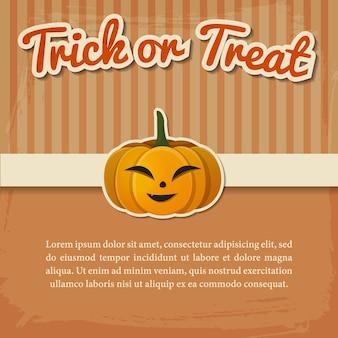 Glückliche halloween-grußkarte oder einladung mit papierinschrift und lächelndem kürbis