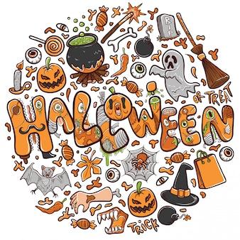 Glückliche halloween-grußkarte oder fahnenfeiertagsillustration