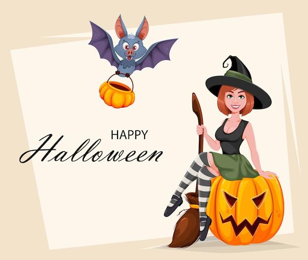 Glückliche halloween-grußkarte. schöne hexe