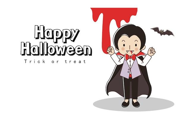 Glückliche halloween-grußkarte. süßes oder saures. kleiner junge im kostüm des vampirslords und im sacy blut.