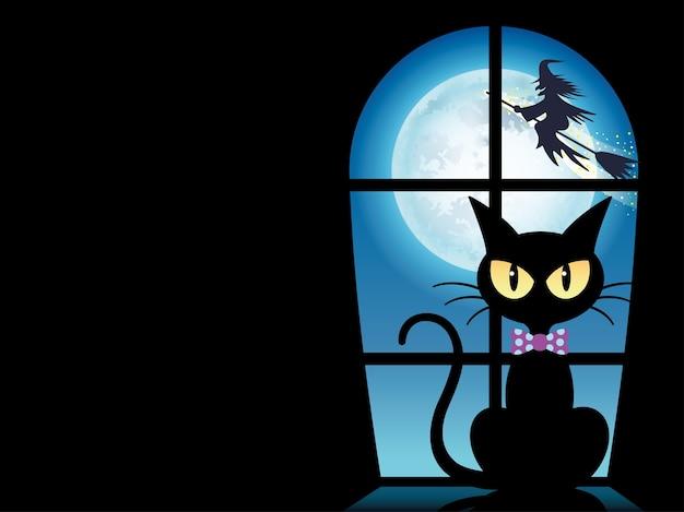 Glückliche halloween-grußkarten-schablone mit einer schwarzen katze durch das fenster
