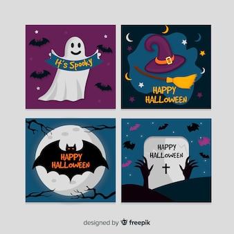 Glückliche halloween-grußkartensammlung