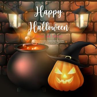Glückliche halloween-hexe magische gifttopf-kürbislaterne mit hut und kerzenhandlampe mit retro-backsteinmauerhintergrund