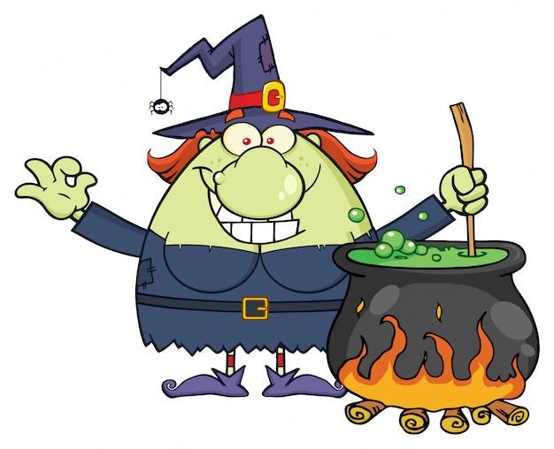 Glückliche halloween-hexe