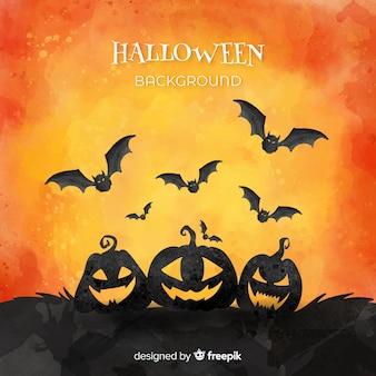 Glückliche halloween-hintergrundarmee von kürbisen