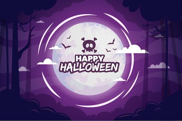 Glückliche halloween-hintergrundnacht im wald