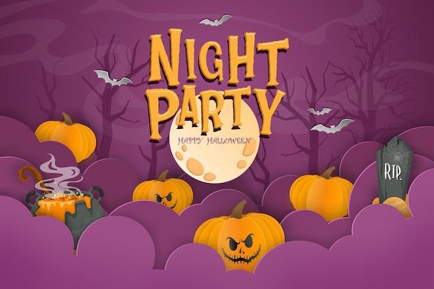 Glückliche halloween-hintergrundschablone in der dunkelheit mit kürbis