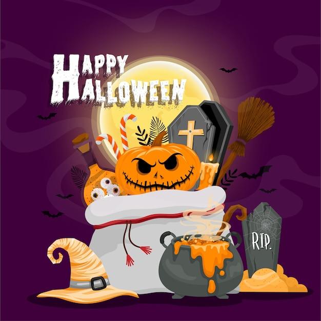 Glückliche halloween-hintergrundschablone in der dunkelheit mit symbol halloween