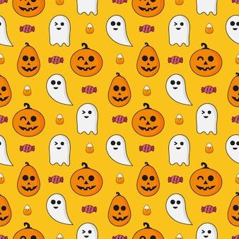 Glückliche halloween-ikonen des nahtlosen musters lokalisiert auf orange
