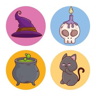 Glückliche halloween-ikonen setzen dekoration auf runden rahmenvektorillustrationsentwurf
