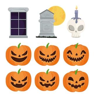 Glückliche halloween-ikonen setzen dekoration