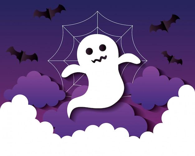 Glückliche halloween-illustration, mit geist, wolken und fledermäusen, die im papierschnittstil fliegen