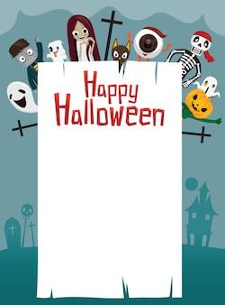 Glückliche halloween-illustration mit geistern