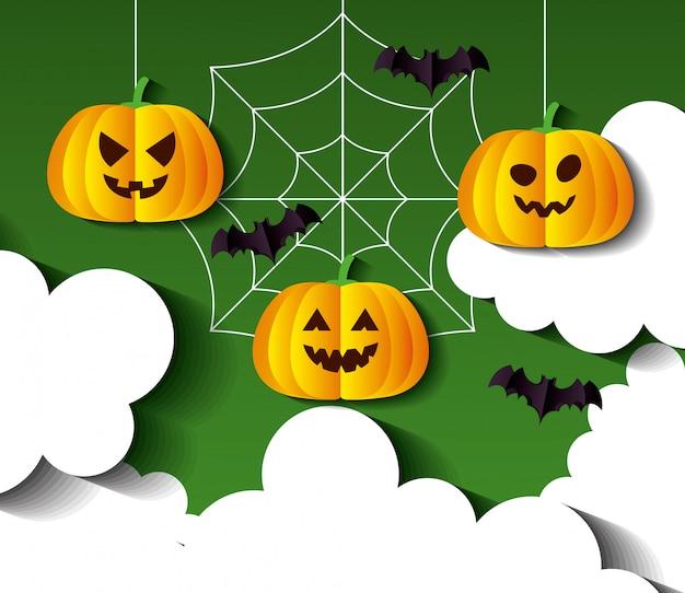 Glückliche halloween-illustration, mit hängenden kürbissen und fliegenden fledermäusen im papierschnittstil