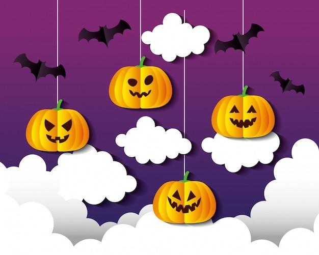 Glückliche halloween-illustration, mit hängenden kürbissen, wolken und fledermäusen, die im papierschnittstil fliegen