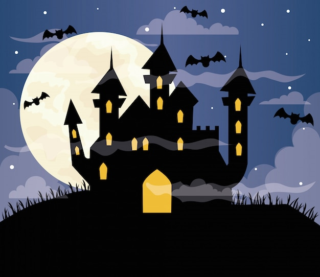 Glückliche halloween-illustration mit heimgesuchtem schloss, fliegenden fledermäusen und vollmond