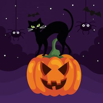 Glückliche halloween-illustration mit katze auf kürbis und spinnen
