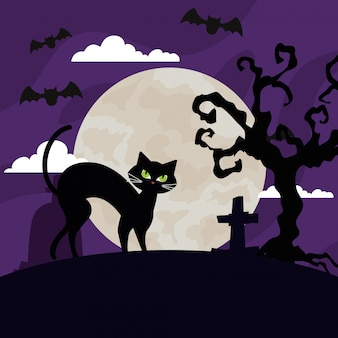 Glückliche halloween-illustration mit katze, fliegenden fledermäusen, trockenem baum und mond