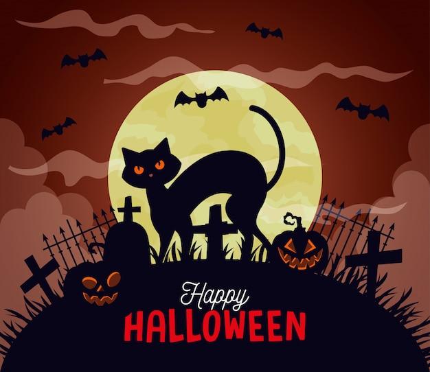 Glückliche halloween-illustration mit katze, kürbissen, fliegenden fledermäusen und vollmond