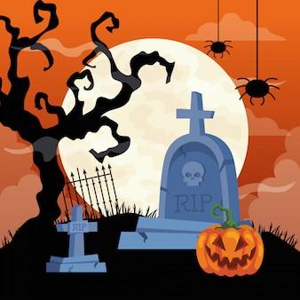 Glückliche halloween-illustration mit kürbis, trockenem baum, hängenden spinnen und grabsteinfriedhof