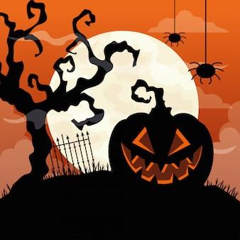 Glückliche halloween-illustration mit kürbis, trockenem baum, hängenden spinnen und vollmond Premium Vektoren