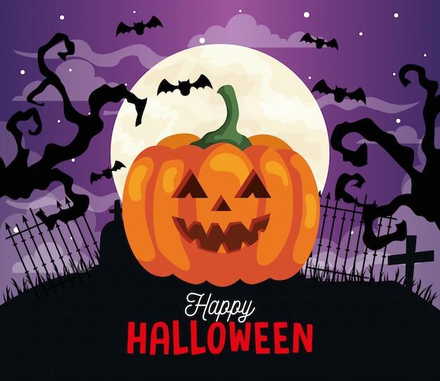 Glückliche halloween-illustration mit kürbis, trockenen bäumen, fliegenden fledermäusen und vollmond