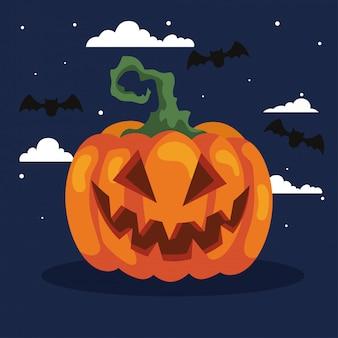 Glückliche halloween-illustration mit kürbis und fledermäusen fliegen