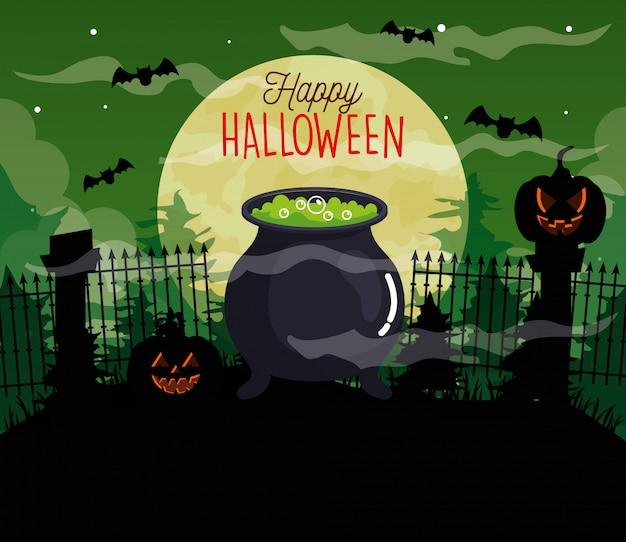 Glückliche halloween-illustration mit kürbissen, kessel, fliegenden fledermäusen und vollmond