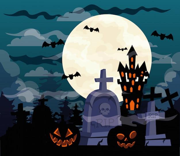 Glückliche halloween-illustration mit kürbissen, schloss heimgesucht und friedhofsgrabsteine