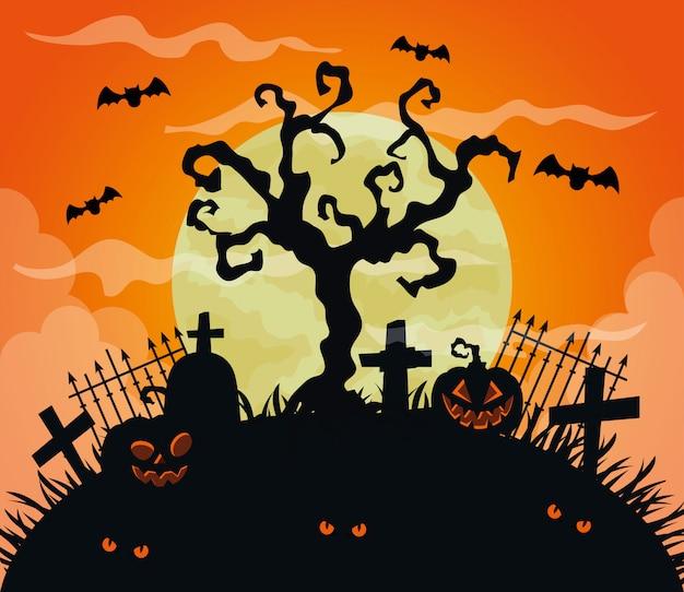 Glückliche halloween-illustration mit kürbissen, trockenem baum und fliegenden fledermäusen
