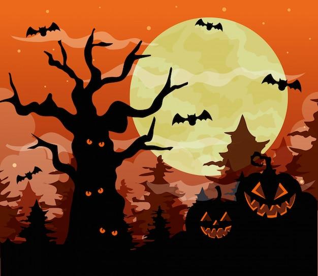 Glückliche halloween-illustration mit kürbissen, trockenem baum verfolgt, fledermäuse fliegen und vollmond