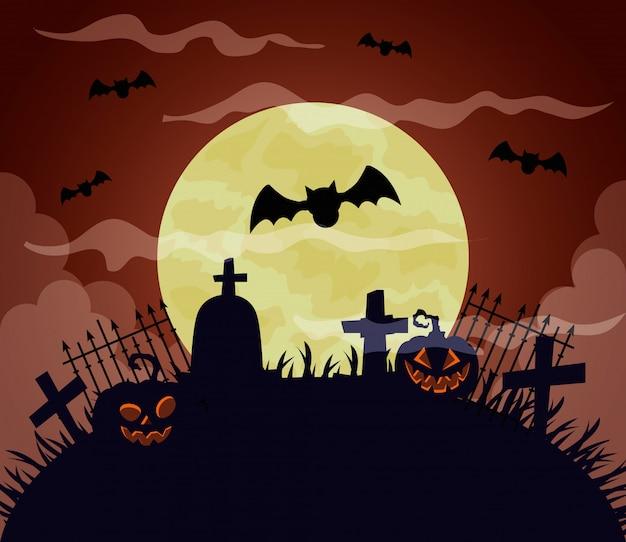 Glückliche halloween-illustration mit kürbissen, vollmond, fledermäuse, die in friedhofsszene fliegen
