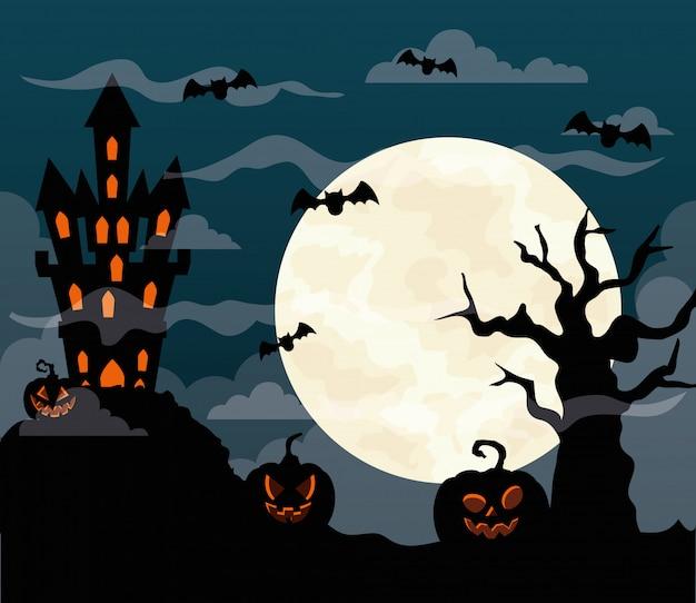 Glückliche halloween-illustration mit schloss heimgesucht, kürbisse, fliegende fledermäuse, trockener baum und vollmond