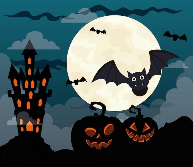 Glückliche halloween-illustration mit schloss heimgesucht, kürbisse, fliegende fledermäuse und vollmond