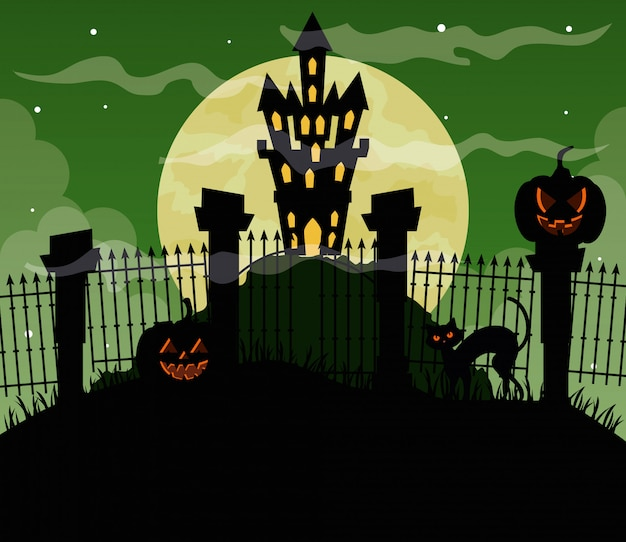 Glückliche halloween-illustration mit schloss heimgesucht und kürbissen
