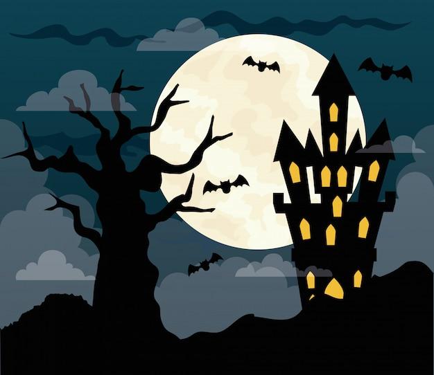 Glückliche halloween-illustration mit schloss heimgesuchtem, trockenem baum und vollmond in der dunklen nacht