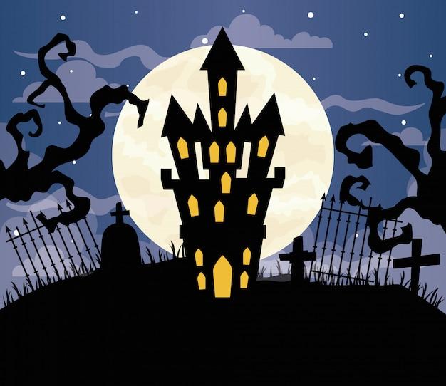 Glückliche halloween-illustration mit schloss verfolgt auf friedhofsszene