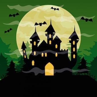 Glückliche halloween-illustration mit schloss verfolgt, fledermäuse fliegen und vollmond auf grünem himmel