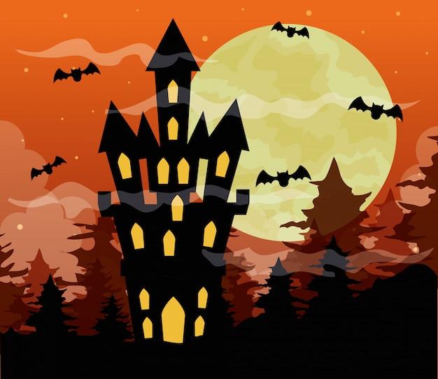 Glückliche halloween-illustration mit schloss verfolgt, fledermäuse fliegen und vollmond auf orange himmel