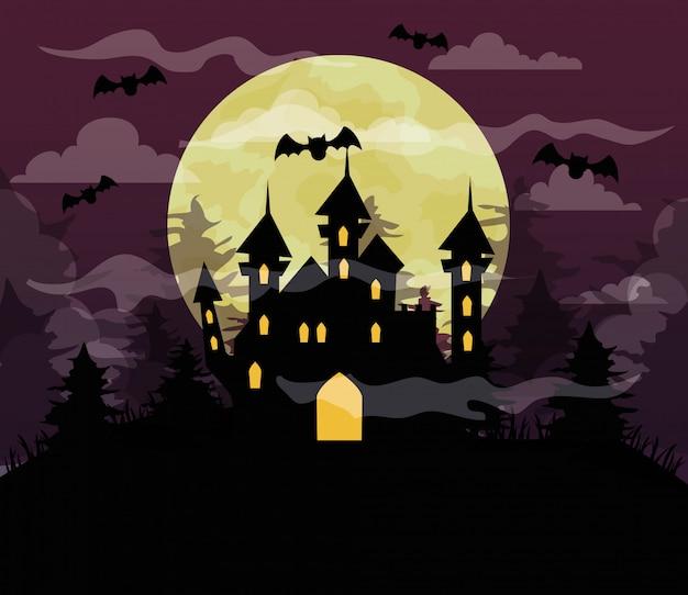 Glückliche halloween-illustration mit schloss verfolgt, fledermäuse fliegen, vollmond in der dunklen nacht
