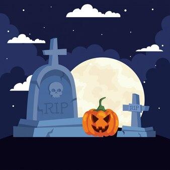 Glückliche halloween-illustration mit szenenfriedhof mit kürbis in der dunklen nacht