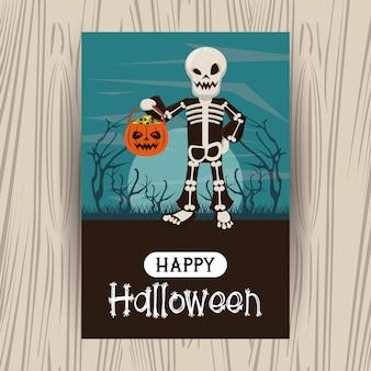 Glückliche halloween-jahreszeitkarte mit karikaturen