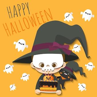 Glückliche halloween-junge und katze, welche die hexe kostümiert trägt.