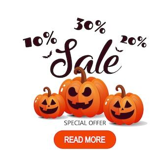 Glückliche halloween-kalligraphie mit papierschlägern und kürbisen.