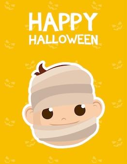 Glückliche halloween-karte mit beschriftung und junge kostümiert von mumienvektorillustrationsentwurf