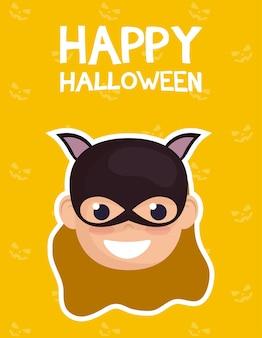 Glückliche halloween-karte mit beschriftung und mädchen kostümiert von catwoman vektorillustration design