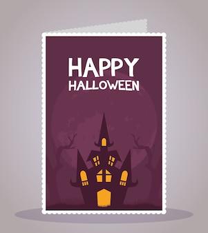 Glückliche halloween-karte mit beschriftung und spukschloss-szene-vektorillustrationsdesign