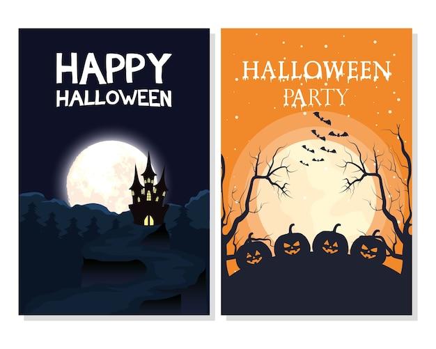 Glückliche halloween-karte mit beschriftungen und dunklen szenenvektorillustrationsentwurf