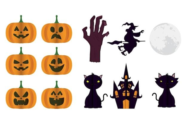 Glückliche halloween-karte mit bündel von kürbissen und ikonenvektorillustrationsentwurf